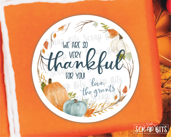Thankful Pumpkin Wreath Stickers or Tags . Thanksgiving Stickers