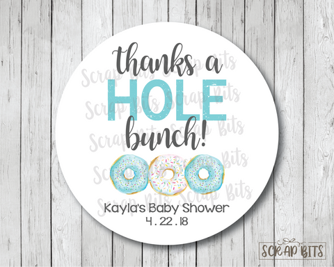 Thanks A Hole Bunch . Donut Baby Shower Favor Stickers or Tags