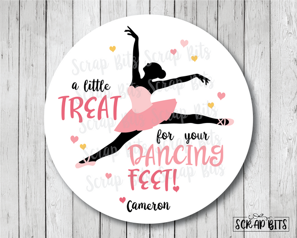 A Little Treat for Your Dancing Feet . Ballerina Favor Stickers or Tags