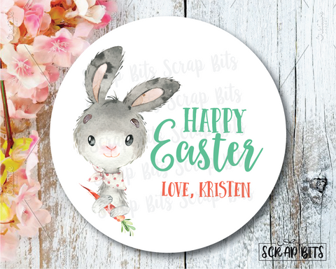 Easter Stickers . Watercolor Easter Bunny & Carrot . Personalized Easter Gift Labels