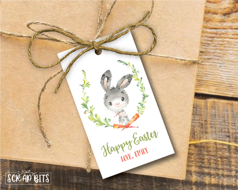 Watercolor Easter Bunny with Carrot . Personalized Easter Gift Tags