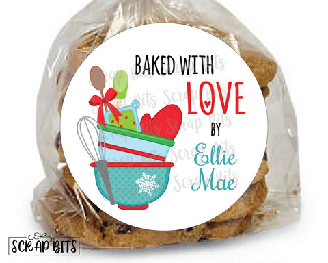 Baked With Love Stickers or Tags . Holiday Baking Labels