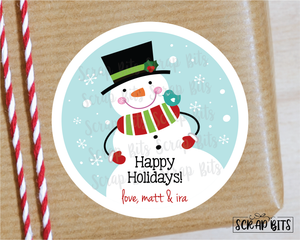 Jolly Snowman Stickers or Tags . Christmas Gift Labels