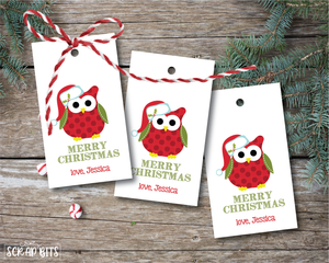Santa Owl Tags . Personalized Christmas Gift Tags
