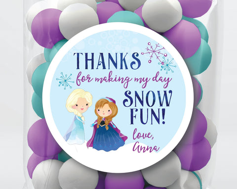 Snow Fun Frozen Birthday Party Favor Stickers or Tags