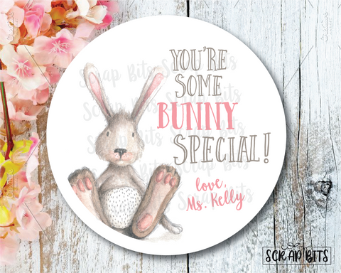 Easter Stickers . You're Some Bunny Special . Personalized Easter Gift Labels