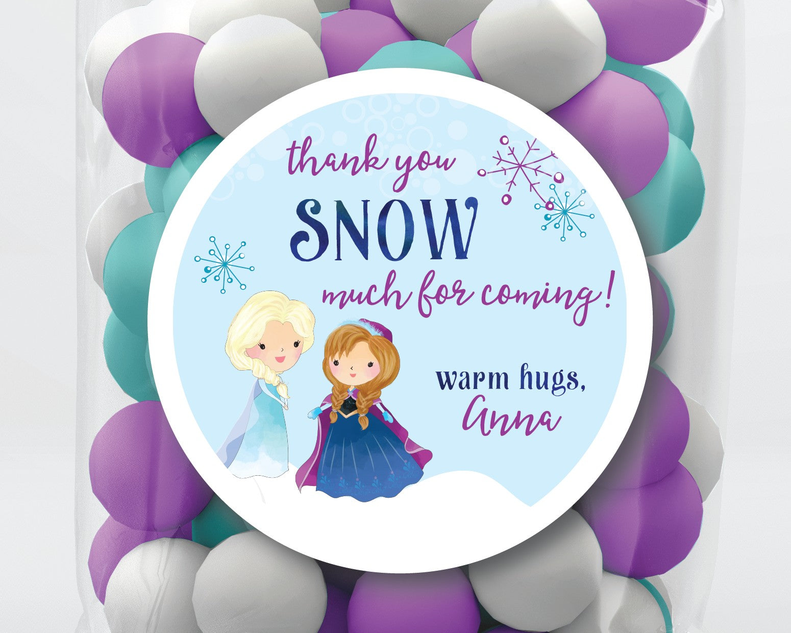 Thank You Snow Much Frozen Birthday Party Favor Stickers or Tags