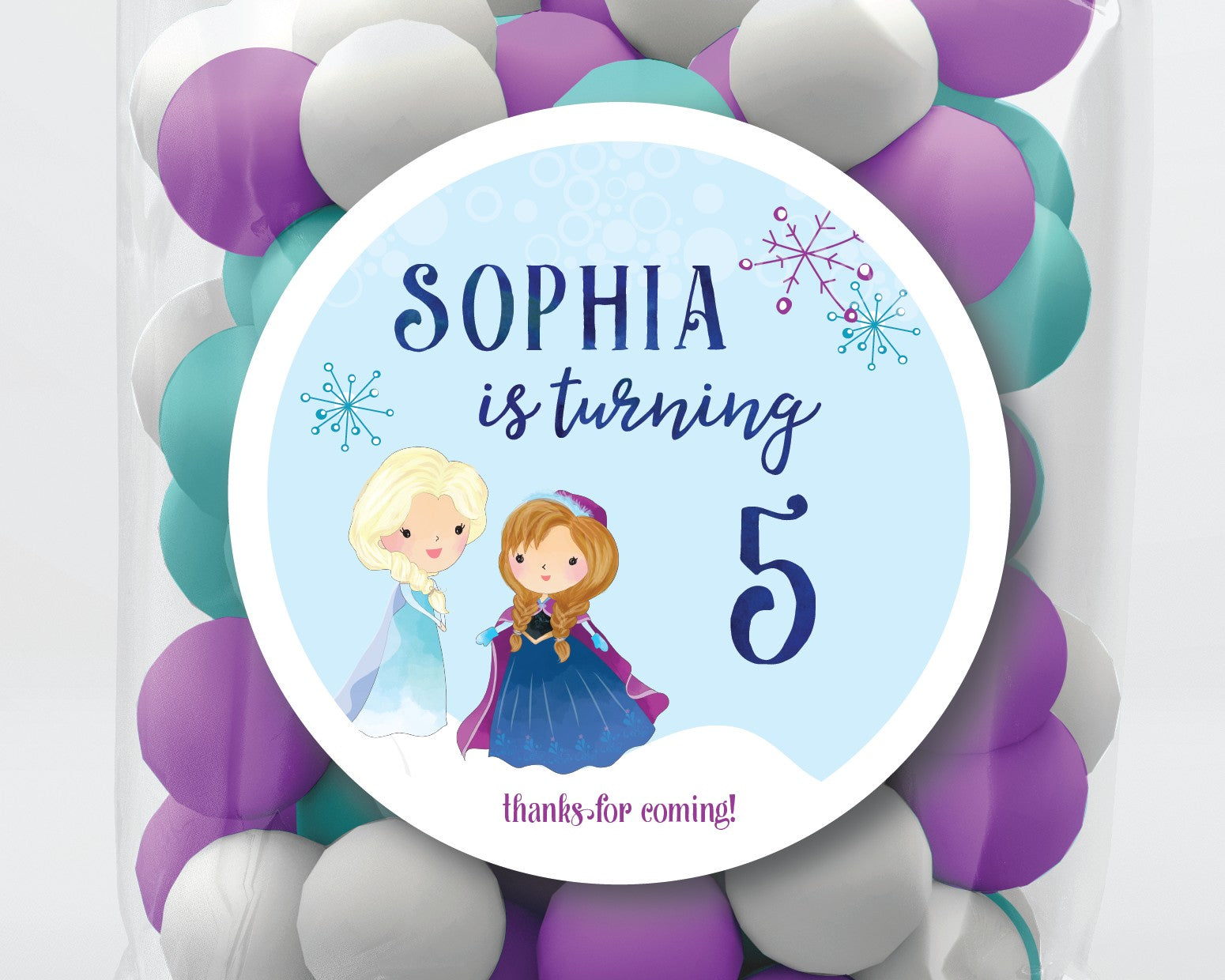 Frozen Birthday Party Favor Stickers or Tags