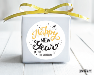 Happy New Year Stickers or Tags, Swirly Lettering