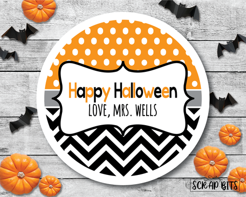 Chevron & Dots . Halloween Stickers or Tags