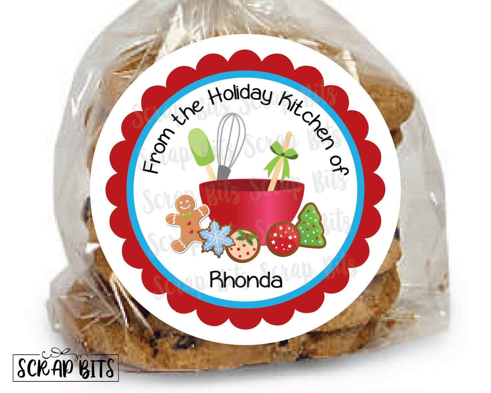 Baking Christmas Cookies Stickers or Tags . Christmas Baking Labels