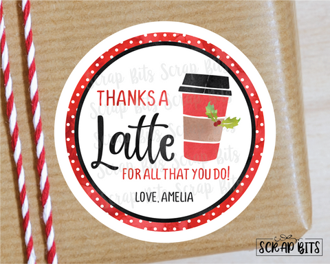 Thanks a Latte Stickers or Tags . Christmas Gift Labels