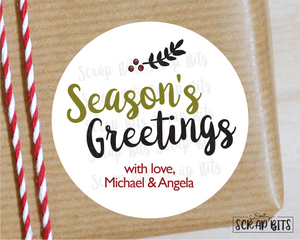 Simple Season's Greetings Stickers or Tags . Christmas Gift Labels