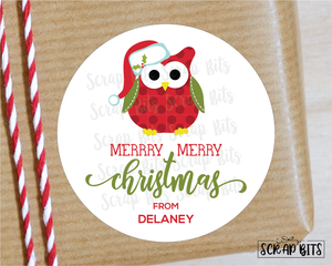 Christmas Owl with Santa Hat Sticker or Tags . Christmas Gift Labels