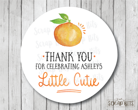 Little Cutie . Baby Shower Favor Stickers or Tags
