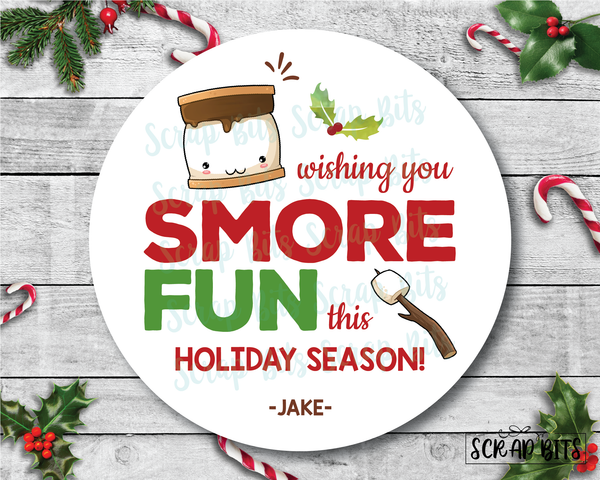 Wishing You Smore Fun This Holiday Season Stickers or Tags . Christmas Gift Labels