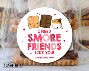 I Need Smore Friends Like You . S'more Valentines . Valentine's Day Stickers or Tags