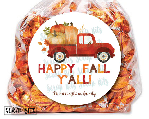Happy Fall Y'All Red Pumpkin Truck Stickers or Tags