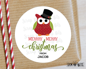 Christmas Owl with Top Hat Stickers or Tags . Christmas Gift Labels