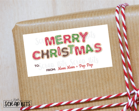 Merry Christmas Cookies Stickers . Rectangular Christmas Gift Labels