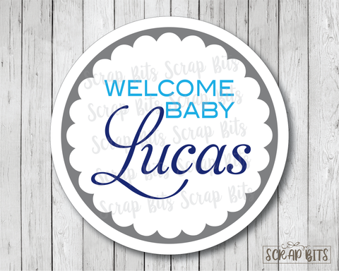 Welcome Baby Script . Baby Shower Favor Stickers or Tags