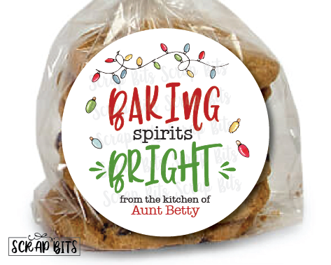Baking Spirits Bright Stickers or Tags . Holiday Baking Labels
