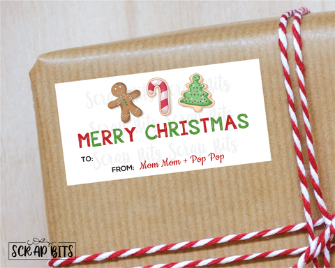 Christmas Cookies Stickers . Rectangular Christmas Gift Labels