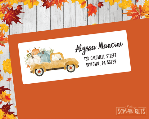 Yellow Farm Truck Address Labels