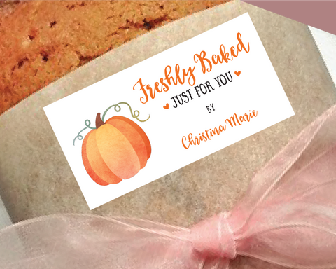 Freshly Baked Stickers, Watercolor Pumpkin . Holiday Baking Labels or Tags