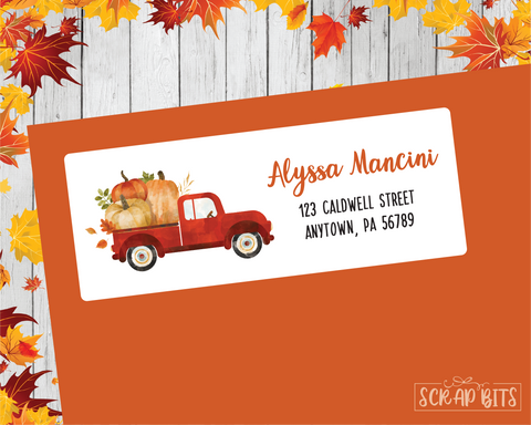 Red Pumpkin Truck Address Labels