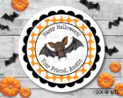 Spooky Bat Halloween Stickers or Tags