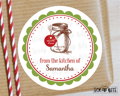 From The Kitchen Of Mason Jar Stickers or Tags . Christmas Baking Labels
