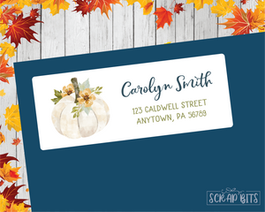 White Floral Pumpkin Address Labels