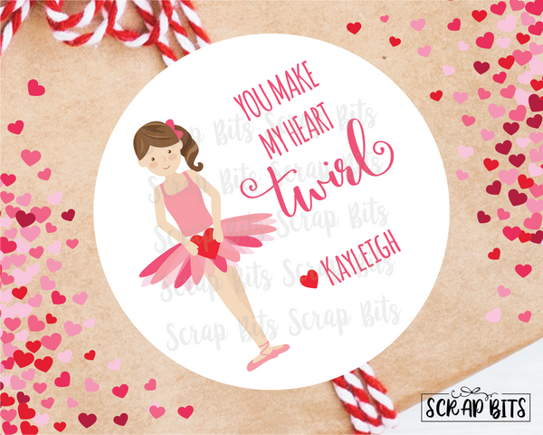 You Make My Heart Twirl Ballerina Valentines . Valentine's Day Stickers or Tags