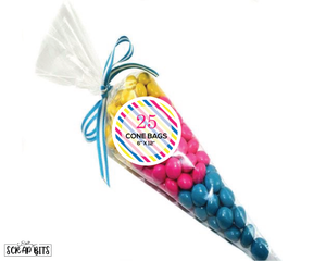 Clear Cone Favor Bags . 6x12 inches