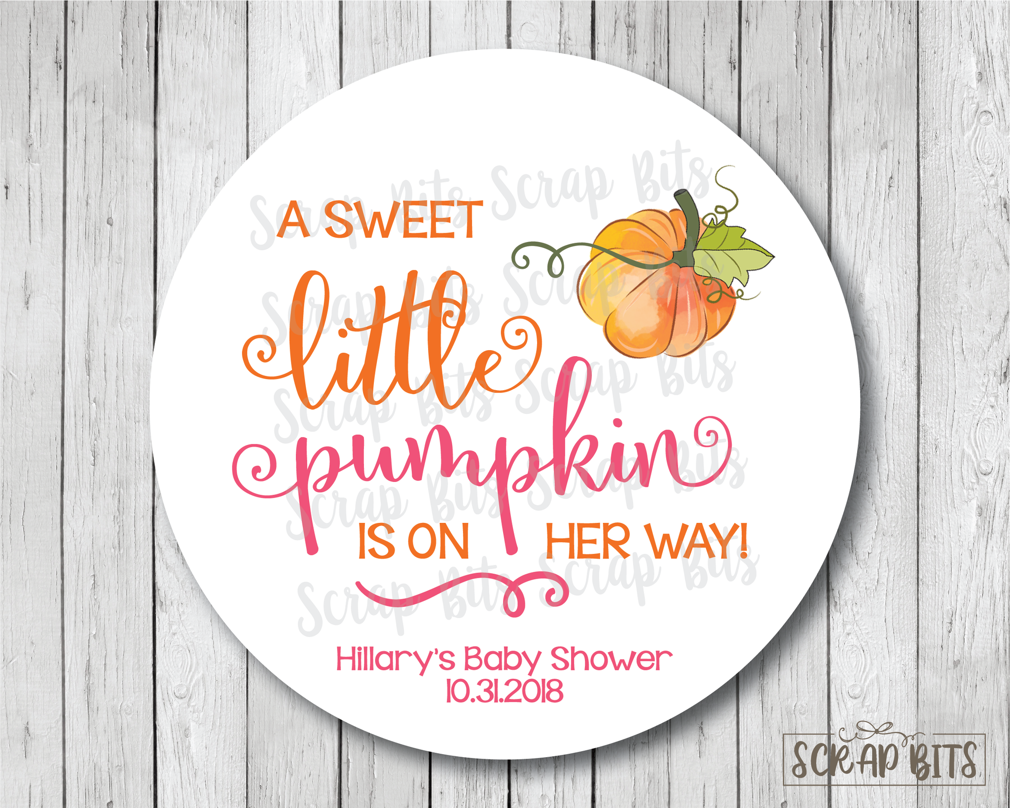 A Sweet Little Pumpkin Is on Her Way . Baby Shower Favor Stickers or Tags
