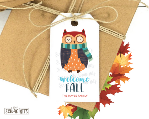 Welcome Fall, Owl With Scarf . Personalized Gift Tags