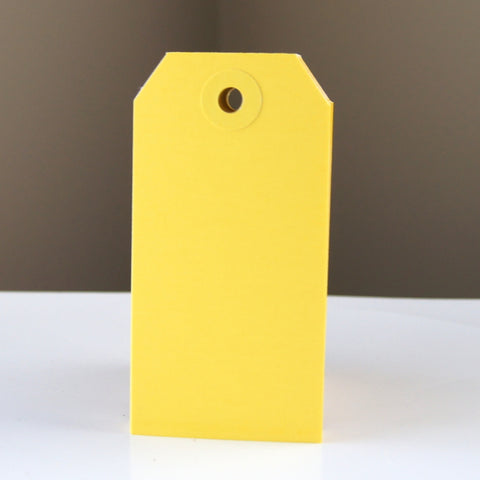 "Medium Colored Shipping Tags in Yellow . Size 3 (3.75"" x 1.875"")"