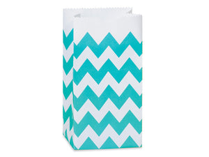 Chevron Paper Gift Sacks, Favor Bags - Aqua