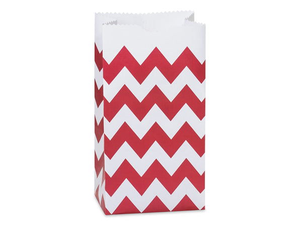 Chevron Paper Gift Sacks, Favor Bags - Red