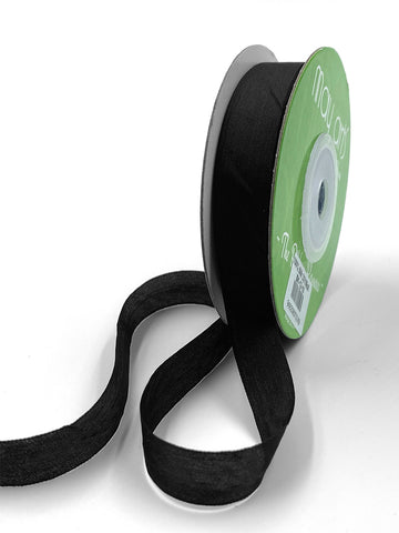 "1/2"" Hand Dyed Silk Ribbon with Woven Edge . Black Silk Ribbon . 3 yards"