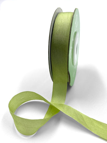 "1/2"" Hand Dyed Silk Ribbon with Woven Edge . Celery Green Silk Ribbon . 3 yards"
