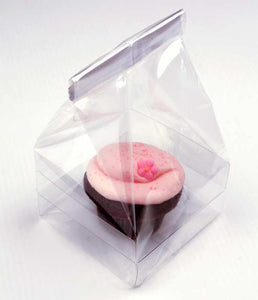 "Clear Cupcake Bags with Insert . 4"" x 4"" x 7"""