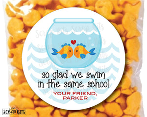 So Glad We Swim In The Same School Fishbowl Valentines . Valentine's Day Stickers or Tags