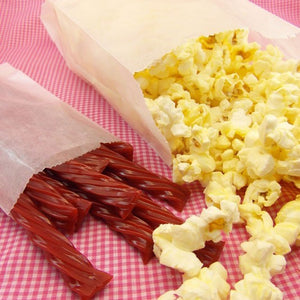 Gusseted Glassine Popcorn Favor Bags . 4x2.5x8.5 inches