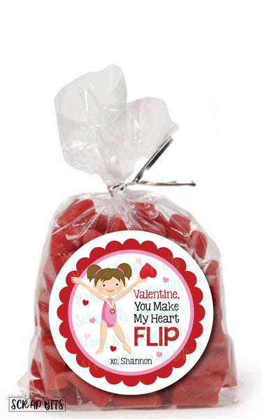 You Make My Heart Flip Gymnast Valentines . Valentine's Day Stickers or Tags