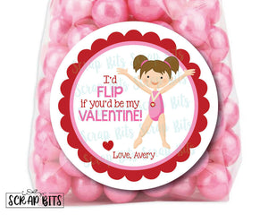 I'd Flip For You Gymnast Valentines . Valentine's Day Stickers or Tags