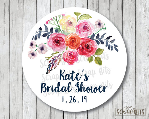 Watercolor Wild Roses . Bridal Shower Favor Stickers or Tags