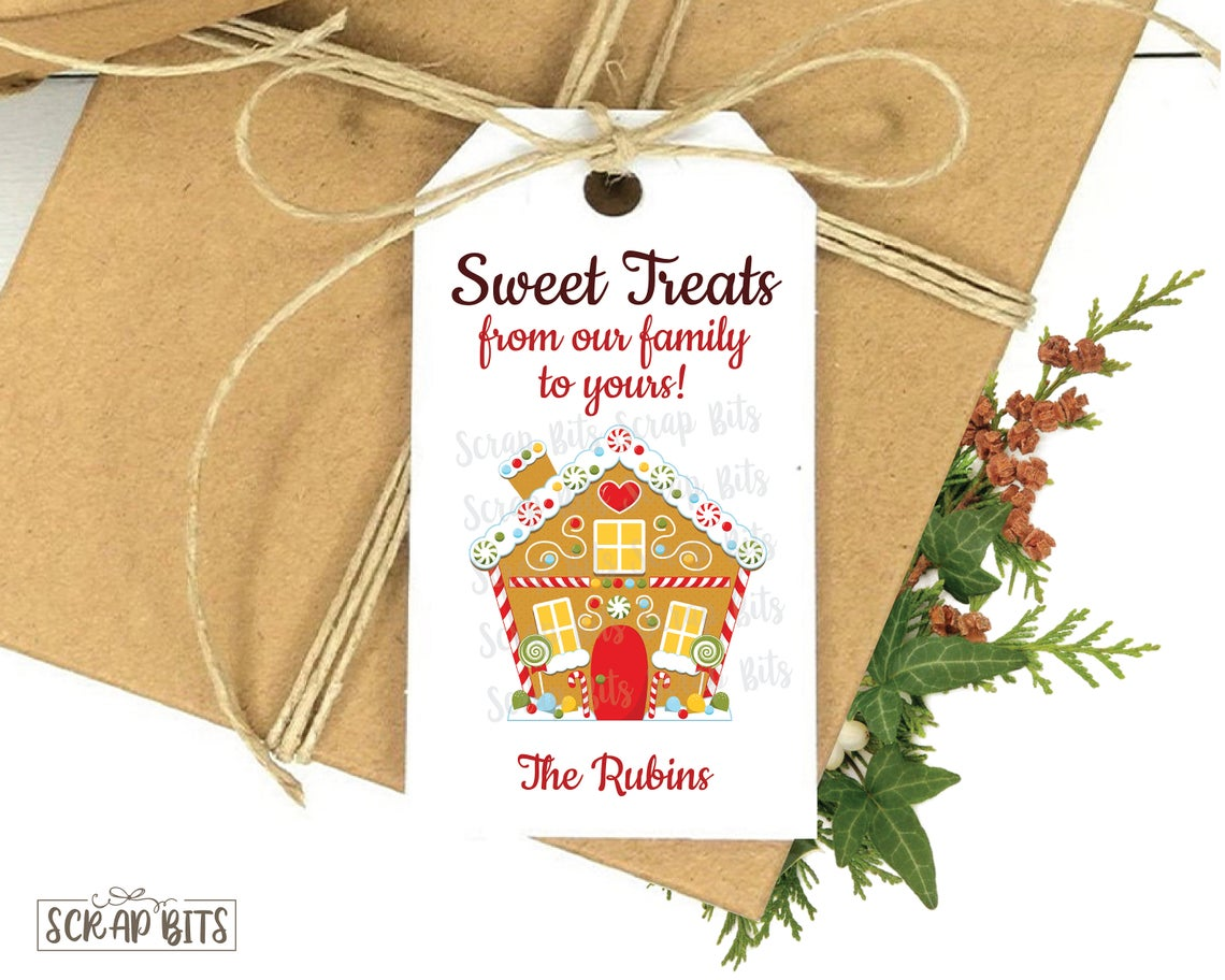 Sweet Treats, Gingerbread House . Personalized Christmas Gift Tags