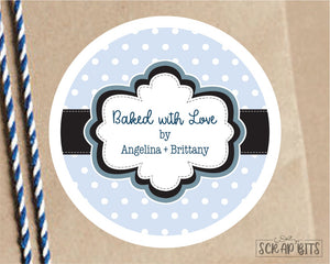 Frame on Tiny Dots Stickers or Tags . Baking Labels